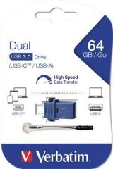 64GB USB Flash 3.0 + USB-C adaptér, VERBATIM DUAL