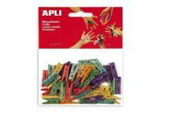 Mini kolíčky, dřevěné, různé barvy, APLI ,balení 45 ks