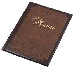 Desky na jídelní lístek Framed, hnědá-světle hnědá, koženka, A4, PANTA PLAST