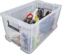 Box, plastový, s víkem, 54 l, průhledný, i pro A4 závěsné desky, ALLSTORE