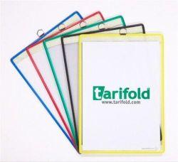 Závěsná prezentační kapsa, červená, A4, kovový rámeček s okem na zavěšení, TARIFOLD ,balení 5 ks