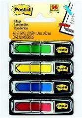 Záložky se zásobníkem, mix barev, 12x43 mm, 4x24 listů, tvar šipky, 3M POSTIT ,balení 96 ks