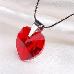 Náhrdelník, SWAROVSKI® Crystals, červená, tvar srdce, ART CRYSTELLA