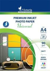 Fotografický papír Universal, do inkoustové tiskárny, matný, A4, 90g, VICTORIA ,balení 20 ks