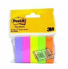 Samolepicí záložky, mix barev, 15x50 mm, 5x100 listů, 3M POSTIT ,balení 500 ks