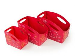 Sada dětských úložných boxů (červená), 3ks, PRIMOBAL ,balení 3 ks