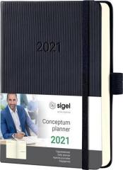 Diář Conceptum, černá, A6, denní, 2021, tvrdé desky, SIGEL