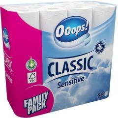 Toaletní papír, 3vrstvý, 32 rolí, Ooops!, jemný ,balení 32 ks