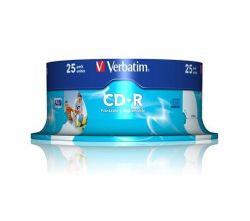 CD-R 700MB, 80min., 52x, Printable, Verbatim, 25-cake ,balení 25 ks