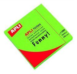 Samolepící bloček, 75x75 mm, 100 lístků, APLI, zářivě zelený ,balení 100 ks
