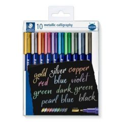 Kaligrafické popisovače Design Journey Metallic Calligraphy, 10 barev, 2,8 mm, STAEDTLER 8325 TB10