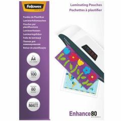 Laminovací fólie, matná, A4, 80 micron, FELLOWES ,balení 100 ks