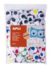 Samolepicí pohyblivé oči APLI Jumbo / mix velikostí / 600 ks
