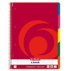 Blok College Herlitz s barevným registrem - A4 / čtvereček + barevný registr