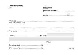 Příjmový pokladní doklad MSK - A6 / nečíslovaný 100 listů NCR / 49