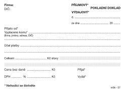 Universální příjmový a výdajový doklad MSK - A6 / nečíslovaný 100 listů NCR / 57