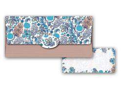 Obálka na peníze pro dámy / modro-hnědá s kvety