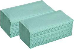 Ručníky papírové skládané - ručníky zelené / jednovrstvé / 250 ks
