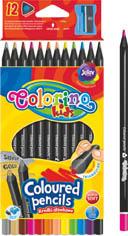 Pastelky Colorino černé dřevo - 12 barev