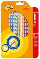 Trojhranné pastelky STABILO® EASYcolors - 12 barev / pro leváky