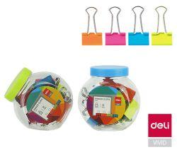 Klipy kovové barevné DELI - 25 mm / 12 ks / barevný mix