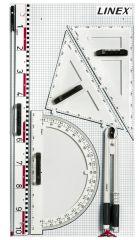Magnetické rýsovací potřeby na školní tabuli LINEX - sada 6 ks
