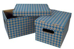 Krabice Emba úložná s víkem - modrá / A4 / 30 x 22,5 x 20 cm