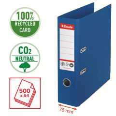 Pořadač pákový Esselete CO2 neutrální - A4 / hřbet 7,5 cm / modrá