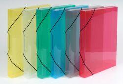 Box na spisy A4 s gumou průsvitný - hřbet 3 cm / modrá