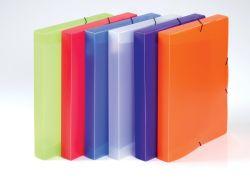 Box na spisy A4 s gumou průsvitný Opaline - hřbet 3 cm / modrá
