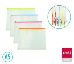 Spisové desky Fashion DELI na zip - A5 / barevný mix