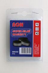 Magnety černé MIKOV super silné - průměr 22 mm / 6 ks