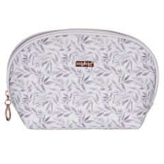 Kosmetická taška White leaves / kulatá