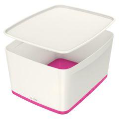 Organizační box MyBox - s víkem L / bílo - růžová