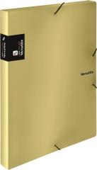 Box na spisy A4 s gumou METALLIC - zlatá