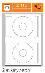 Print etikety A4 pro laserový a inkoustový tisk - průměr 118 mm (2 etikety / arch) na CD