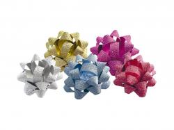 Rozetky samolepicí - střední 5 cm / glitr / mix barev