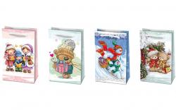 Vánoční dárková taška s dětskými motivy - S 10 x 16 cm - mix motivů