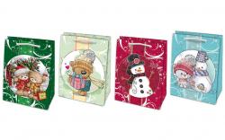 Vánoční dárková taška s dětskými motivy - L 23 x 32 cm / mix motivů