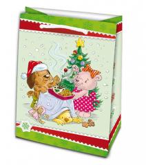Vánoční dárková taška - XL 34,5 x 56 cm / mix motivů