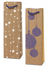 Taška na láhev vánoční - mix kraft motivů