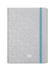 Baloušek tisk diář Lamino B6 týdenní 2021 stříbrné Ornamenty s gumou
