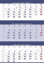 Kalendář nástěnný pracovní - tříměsíční modrý / N205