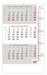 Kalendář nástěnný pracovní - tříměsíční šedý s poznámkami / N210