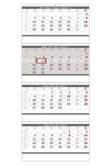 Kalendář nástěnný pracovní - čtyřměsíční šedý skládaný / N209