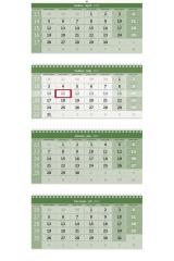 Kalendář nástěnný pracovní - čtyřměsíční šedý skládaný GREEN / N213