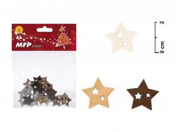 Vánoční dřevěné dekorace - hvězdička / 24 ks