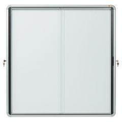 Vitrína vnitřní / s posuvnými dveřmi / 12xA4 / bílá / kov