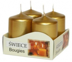 Vánoční adventní svíčka - zlatá 6 cm / 4 ks