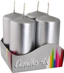 Vánoční adventní svíčky - stříbrná 6 cm / 4 ks